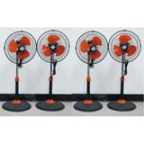 """Zoom 12"""" 360 Degree Frontal Rotation Oscillation Stand Fan - Set Of 4 in Black/Orange, Size 34.5 H x 15.0 W x 15.0 D in 