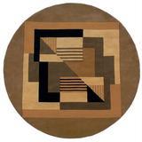 Momeni New Wave Handmade Tufted Wool Brown/Black RugWool in Black/Brown, Size 93.0 H x 93.0 W x 0.45 D in   Wayfair NEWWANW-06GLD790R