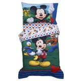 Disney Mickey Mouse Big Adventures 4 Piece Toddler Bedding Set Polyester in Blue/Red/Yellow | Wayfair 6011416