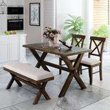 Rosalind Wheeler 4 Pieces Farmhouse Rustic Wood Kitchen Dining Table Set w/ Upholstered 2 X-Back Chairs & Bench+BeigeWood/Upholstered Chairs in Brown