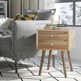 Corrigan Studio® Wooden Nightstand Mid-Century End Side Table w/ 2 Storage Drawers,Natural Wood/Upholstered in Brown | Wayfair