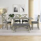 Gracie Oaks Dining Table & Chair Kitchen Table Set w/ Table, Bench & 4 Chairs Wood/Upholstered Chairs in Brown/Gray/Green | Wayfair