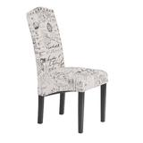 One Allium Way® Dining Script Fabric Accent Chair w/ Solid Wood Legs, Set Of 2Wood/Upholstered/Fabric in Black/Brown/Green | Wayfair