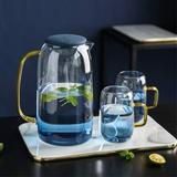 Everly Quinn Glass Pitcher w/ Lid, Spout & Handle, 54 Ounces Water Pitcher w/ Two Glass Cups, Heat Resistant Borosilicate Glass Carafe For Juice