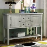 Red Barrel Studio® Cambridge Series Buffet Sideboard Console Table w/ Bottom Shelf (Lime White) Wood in Gray, Size 34.0 H x 46.0 W x 15.0 D in
