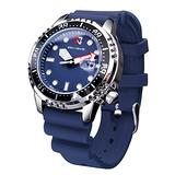 Classic Quartz Watch Date Small Dial Silicone Strap Waterproof Sport Watches for Man Relogios Masculino with Gift Box (Blue)