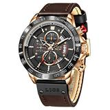 LIGE Mens Watches Fashion Waterproof Sports Chronograph Analogue Quartz Stainless Steel Leather Black Dial Leather Bracelet Watches for Men Wristwatch