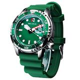Classic Quartz Watch Date Small Dial Silicone Strap Waterproof Sport Watches for Man Relogios Masculino with Gift Box (Green)