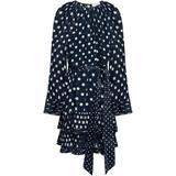 Tiered Belted Satin-trimmed Polka-dot Chiffon Mini Dress - Blue - Zimmermann Dresses