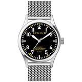 42mm Men's Stainless Steel Quartz Watch Sapphire Crystal 100 Meters Water Resistant (Stainless Steel Milanese mesh watchband Black dial)
