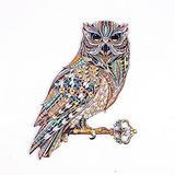 INOOY Wooden Jigsaw Puzzles Unique Shape Jigsaw Pieces Animal Themed Puzzle with Irregular Shapes, Fun Puzzle Best Gift for Kids Adults Family Game,Owl