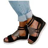 Women's Wedge Zip Open Toe Roman Style Sandals,Women Orthopedic Wedge Sandals Comfy Peep Toe Slides Sandals