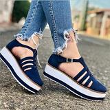 Oaimmk 2021 Ladies Spring Retro Round Head Loafers for Women Low Upper Wedge Heel Shoes Buckle Design, Womens Wedge Platform Buckle Strap Sandals Summer Closed Toe Spring Loafers,Blue,39 EU