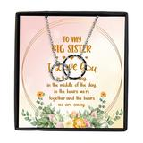 Big Sister Silver Necklace, to My Big Sister I Love You in The Morning, in The Middle of The Day, Interlocking Rings, Big Sister Necklace Jewelry with Message Card, Pendant