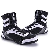Wanban High Traction Men's Sports Boxing Shoes Fitness Training Shoes Sanda Shoes High-top Combat Speed Wrestling Mens Women Breathable Weightlifting Training Shoes Black White