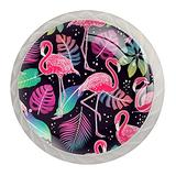Flamingo Tropical 4-Pack Crystal Glass Cabinet Knobs Knobs for Kitchen Cabinets Beautiful Cute Crystal Clear Glass Cabinet Round Drawer Pulls with Screws Crystal Glass Drawer Cabinet Pull Knob Handle Kitchen Door Wardrobe Hardware