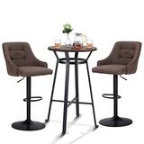 """MAISON ARTS Bar Table Set of 3, Bar Height Round Bar Table with 2pcs Swivel Bar Stools 41"""" Pub Counter Table with Height Adjustable Barstools with Back, 1 Table & 2 Bar Stools Set, Rustic Brown"""