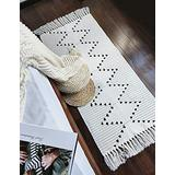 Boho Kitchen Runner Rug 2'x4.3' Small Bathroom Rugs with Tassels,White Moroccan Farmhouse Cotton Woven Chic Cute Washable Throw Runner Rug for Hallway Sink Bedroom Living Room Indoor Outdoor Decor