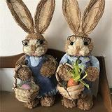 ZYLE 33cm Greeting Straw Rabbit,Desktop Bunny Easter Handicraft,Pastoral,Wedding Decor,Window Ornament Photography Props Xmas Ornament