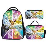 Eevee Evolutions Pikachu Backpacks 3Pcs Set, Backpack with Lunch Bag and Pencil Case, Cute School Bag for Teen Girls Boys Water Resistant