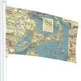 Nostalgic Vintage Cape Cod Map Old Flag, 3x5 Ft Flag,Vivid Color ,Anti Fading, Tough Durable, It Can Be Used for Outdoor or Room Decoration