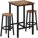 Recaceik 3 Piece Pub Dining Set, Modern bar Table and Stools for 2 Kitchen Counter Height Wood Top Bistro Easy Assemble for Breakfast Nook Living Room Small Space Restaurant, Rustic Brown 24