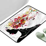 """Entrance Modern Area Rugs Modern Floral Hairdress Woman Art 23.5"""" x 15.5"""" Rectangle Modern Area Rug with Non-Skid"""