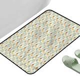 "Long Kitchen Mat Bath Carpet Paint Circular Petals Swirly Stems 35.5"" x 23.5"" Rectangle Kids Rugs for playroom"