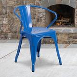 Flash Furniture Commercial Grade Black Metal Indoor-Outdoor Chair w/ Arms [CH-31270-BK-GG]Wood/Upholstered/Fabric in Blue, Size 28.75 H in | Wayfair