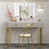 Mercer41 White Makeup Vanity Mirror w/ Light Stage Large Beauty Mirror Dimmer, Size 135.585 H x 19.65 W x 32.0295 D in   Wayfair