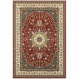 Bungalow Rose 9' X 12' Red Ivory Machine Woven Oriental Indoor Area Rug in White, Size 153.54 H x 118.11 W x 0.32 D in   Wayfair