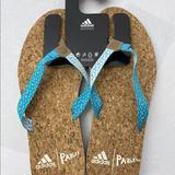 Adidas Shoes | Adidas Eezay Parley Flip Flops Cork Aqua Sz 10 | Color: Blue/White | Size: 10