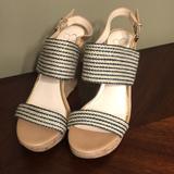 Jessica Simpson Shoes | Jessica Simpson Cork Wedge Sandal Open Toes | Color: Blue/Cream | Size: 9m