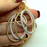 Torrid Jewelry   Mixed Metal Tri Color Drop Hoops Earrings   Color: Gold/Silver   Size: Os