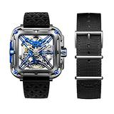 CIGADesign X Mens Titanium Watch Silver& Blue Automatic Mechanical Watches Luminous Unique X-Shaped Skeleton Wrist Watch Casual Waterproof Watch for Men(Adjustable Silicone and Nylon Strap)