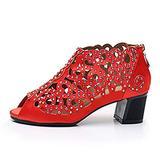 Bfg Boots Woman Rhinestone Latin Dance Shoes Ballroom Salsa Bachata Dancing Shoes for Women Soft Bottom Bachata Practice Performance Latino Shoes for Kids,Red(Heel:5cm),35EU