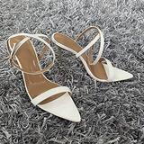 10.5Cm Women's Pointed Toe Female Open Toe High Stiletto Heel Ankle Strap Buckle Women Sandals Sexy Sandals Pole Fitness Dancer Heel Sandal Shoes for Wedding Party Prom,White,6
