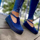 Hwcpadkj Women's Flat Loafer Ladies Low Wedge Heel Shoes Moccasin Platform Suede Low-Heel Sports Vulcanized Canvas Slip-on Suede Sandals and Slippers,Blue,42