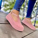 Hwcpadkj Women's Flat Loafer Ladies Low Wedge Heel Shoes Moccasin Platform Suede Low-Heel Sports Vulcanized Canvas Slip-on Suede Sandals and Slippers,Pink,42