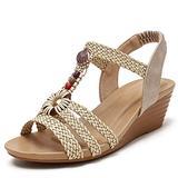 Mgcdd-Car Organizer Platform Sandals, Ladies Platform Wedge Sandals, Fashion Bohemian Braided Open Toe Wedge Stacked High Heels, Summer Dress Sandals,Apricot,37