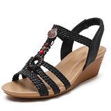 Mgcdd-Car Organizer Platform Sandals, Ladies Platform Wedge Sandals, Fashion Bohemian Braided Open Toe Wedge Stacked High Heels, Summer Dress Sandals,Black,38