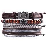 GTHT Men Bracelets,Multilayer Leather Bracelet Men's Fashion Braided Handmade Beaded Rope Wrapped Bracelets and Bracelets Men's