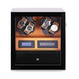CCAN Watches Automatic Watch Winder Box for 4 Watches + 5 Storage Position, Watch Winder LCD Digital Display Quiet Engine, with Drawer Interesting Life