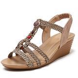 Mgcdd-Car Organizer Platform Sandals, Ladies Platform Wedge Sandals, Fashion Bohemian Braided Open Toe Wedge Stacked High Heels, Summer Dress Sandals,Brown,36