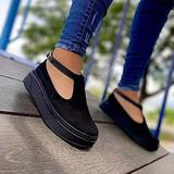 Hwcpadkj Women's Flat Loafer Ladies Low Wedge Heel Shoes Moccasin Platform Suede Low-Heel Sports Vulcanized Canvas Slip-on Suede Sandals and Slippers,Black,43