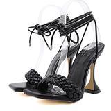 11.5 cm Women's Peep Open Toe High Stiletto Heel Ankle Strap Buckle Weave Women Sandals Sexy Sandals Pole Fitness Dancer Heel Sandal Shoes for Wedding Party Prom,Black,37