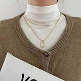 QAPZI Fashion Necklace Pendant Classic Choker Layered Square Pendant Choker Necklace for Women Irregular Hoop Pendant Charm Collar Necklace Korean Jewelry Girls Lover Anniversary Party Gifts