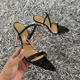 10.5Cm Women's Pointed Toe Female Open Toe High Stiletto Heel Ankle Strap Buckle Women Sandals Sexy Sandals Pole Fitness Dancer Heel Sandal Shoes for Wedding Party Prom,Black,10