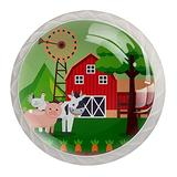 Farm Fresh Cartoon Glass Knobs for Dresser Drawers 4 Pack Round Glass Cabinet Knobs for Dresser Cabinets with Screws Crystal Glass Drawer Cabinet Pull Knob Handle Kitchen Door Wardrobe Hardware 4 Pack
