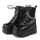 SaraIris Goth Boots for Women Platform Wedge Boots Chain Combat Boots Lace Up Black Punk Ankle Boot Combat Boots